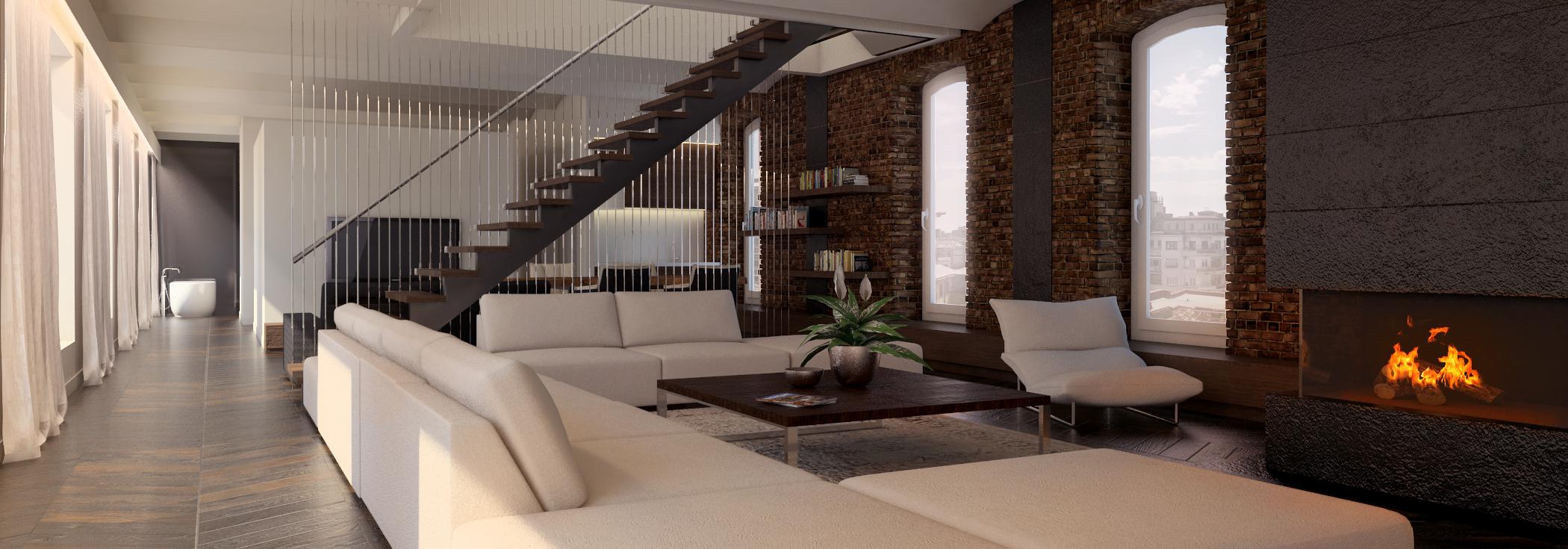 Apartament w dawnym budynku przemysłowym w Łodzi – projekt koncepcyjny